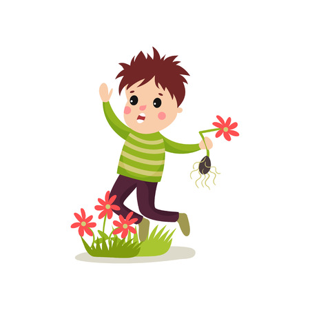 Illustrazione per Bully kid flat character jumping on green lawn and treading flowers. - Immagini Royalty Free