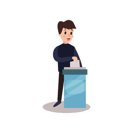 Illustration pour Man character putting a ballot into a voting box, voting process vector Illustration - image libre de droit