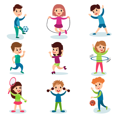 Ilustración de Smiling little kids characters doing different sports and playing sportive games, kids physical activity cartoon vector Illustrations - Imagen libre de derechos