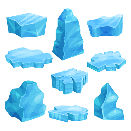 Illustration for Pieces of ice set, cold frozen block, icy cliff, iceberg vector Illustrations - Royalty Free Image