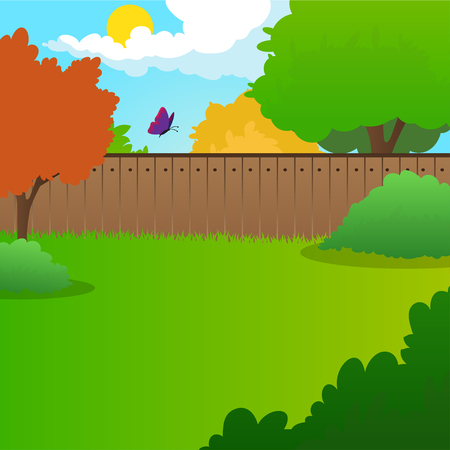 Ilustración de Cartoon backyard landscape with green meadow, bushes, trees, wooden fence, blue sky and flying butterfly. Summer nature background Flat vector design - Imagen libre de derechos