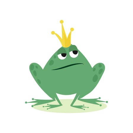 Illustration for Prince frog in golden crown, fairy tale character cartoon vector Illustration - Royalty Free Image