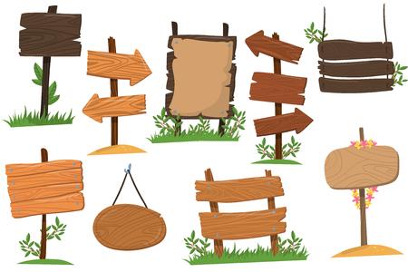 Ilustración de Set of wooden signs of various forms, tablets indicating index arrowhead way cartoon vector Illustrations isolated on a white background - Imagen libre de derechos