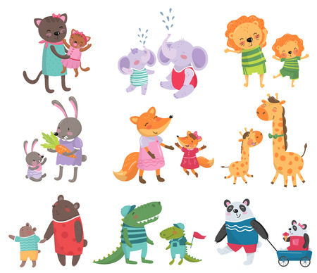 Illustrazione per Cartoon set of cute animal family portraits. - Immagini Royalty Free