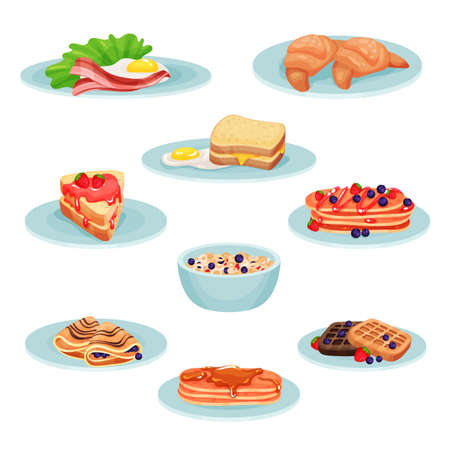 Breakfast menu food set, ?acon, fried eggs, croissant, sandwich, pancakes, muesli, wafers vector Illustration isolated on a white background.