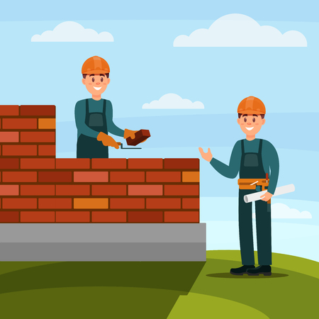 Illustration for Construction worker bricklayer making a brickwork with trowel and cement mortar, foreman supervising his work on nature background flat vector illustration, web design - Royalty Free Image