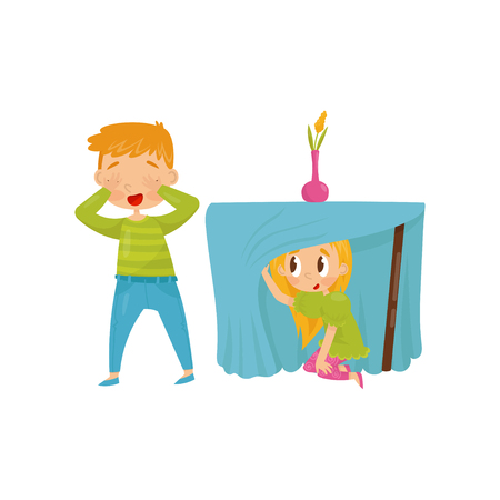 Illustration for Brother and sister playing hide-and-seek. Girl hiding under table. Boy closing eyes with his hands. Flat vector design - Royalty Free Image