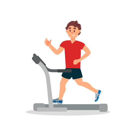 Young man training on treadmill. Physical activity and healthy lifestyle. Smiling guy in sportswear. Flat vector design