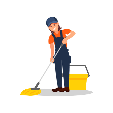 Ilustración de Smiling woman mopping floor. Young girl overall, cap and t-shirt. Flat vector element for advertising of cleaning company - Imagen libre de derechos