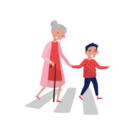 Illustrazione per Polite boy helps elderly woman to cross the road. Cheerful school kid and old lady with walking stick. Child with good manners. Colorful vector illustration in flat style isolated on white background. - Immagini Royalty Free