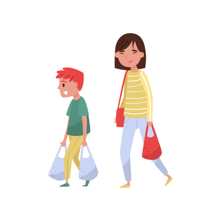 Illustrazione per Kid helping his mother carry shopping bags. Polite boy and young woman. Cartoon people characters. Child with good manners. Colorful vector illustration in flat style isolated on white background. - Immagini Royalty Free