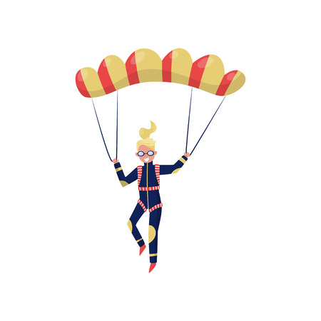Illustration pour Smiling woman flying with parachute. Cartoon character of young girl. Professional skydiver. Extreme sport. Active recreation. Colorful vector illustration in flat style isolated on white background. - image libre de droit