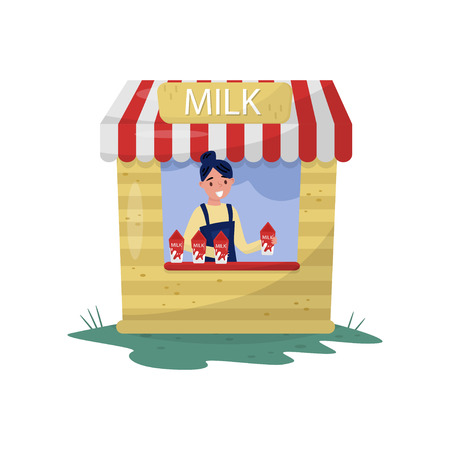 Illustrazione per Young cheerful girl selling milk in small stall with sign. Organic and healthy beverage. Farm dairy product. Cartoon woman character. Colorful flat vector illustration isolated on white background. - Immagini Royalty Free