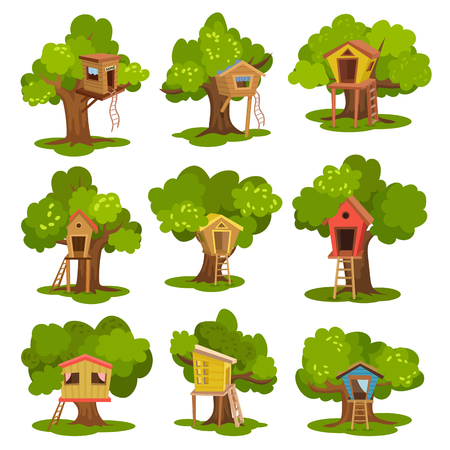 Ilustración de Tree houses set, wooden huts on green trees for kids outdoor activity and recreation vector Illustrations isolated on a white background. - Imagen libre de derechos