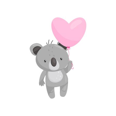 Ilustración de Cartoon icon of adorable koala with bright pink heart-shaped balloon. Cartoon character of wild animal. Love theme. Element for children book or postcard. Flat vector isolated on white background. - Imagen libre de derechos