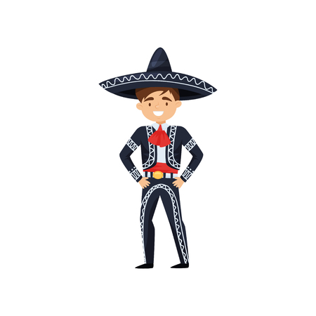 Illustrazione per Cartoon character of cheerful boy in Mexican national clothing. Kid wearing blue sombrero and costume with embroidery. Traditional charro suit. Flat vector illustration isolated on white background. - Immagini Royalty Free