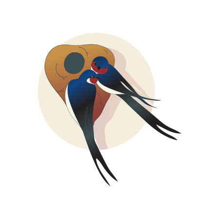 Ilustración de Two lovely martlets or swallows sitting near nest. Couple of birds. Wild creatures. Wildlife theme. Graphic element for children book. Flat vector design with gradients isolated on white background. - Imagen libre de derechos