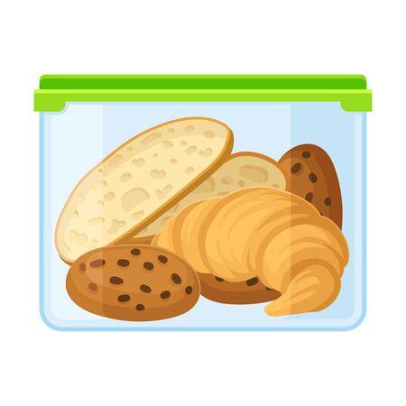 Ilustración de container with bread, croissant and cookies. Vector illustration on a white background. - Imagen libre de derechos