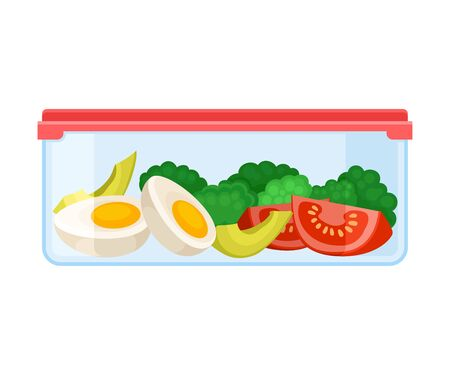 Ilustración de container with slices of boiled egg, broccoli and tomatoes. Vector illustration on a white background. - Imagen libre de derechos