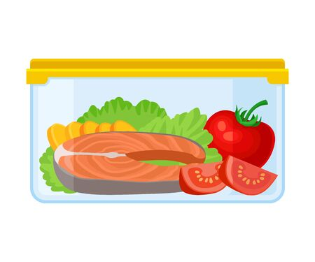 Ilustración de Container with a piece of red fish tomato and lettuce. Vector illustration on a white background. - Imagen libre de derechos
