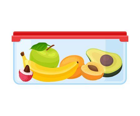 Ilustración de Container with apple, banana, apricot and avocado. Vector illustration on a white background. - Imagen libre de derechos