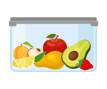 Ilustración de Container with apple, avocado, pear, apricot, strawberries and lemon under a gray lid. Vector illustration on a white background. - Imagen libre de derechos