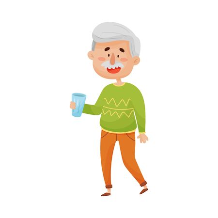 Ilustración de Smiling Grey-Haired Senior Man Standing and Holding a Glass of Water in His Hands Vector Illustration - Imagen libre de derechos