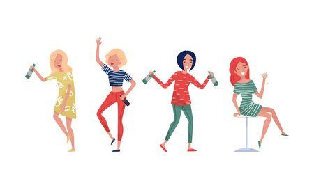 Ilustración de Drunk Dancing Girls With Alcohol At A Party Vector Illustration Set Isolated On White Background - Imagen libre de derechos