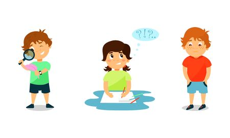 Illustrazione per Little Kids Expressing Different Emotions Vector Illustration - Immagini Royalty Free
