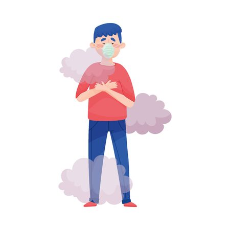Illustration pour Young Man Standing in Smoke Wearing Safety Mask Because of Bad Air and Dust Vector Illustration. Polluted Environment and Health Protection Concept - image libre de droit