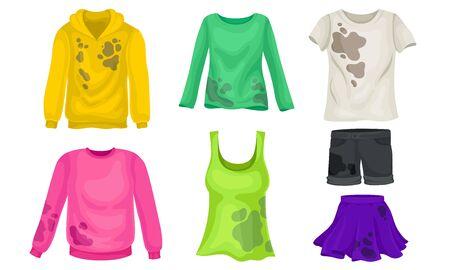 Ilustración de Laundry or Clothes with Stained Sweater and Skirt Vector Set - Imagen libre de derechos