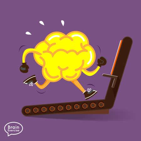 Illustration pour Brain charactor vector design fitness for smart brain with dumbbell   - image libre de droit