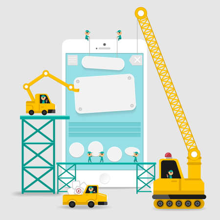 Ilustración de Application display building development infographic style with enginerring to user interface - Imagen libre de derechos