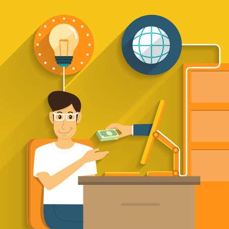Illustration pour Exchange idea money from online marketing  - image libre de droit