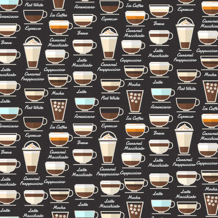 Illustration for Coffee Type Background Pattern Vector - Royalty Free Image