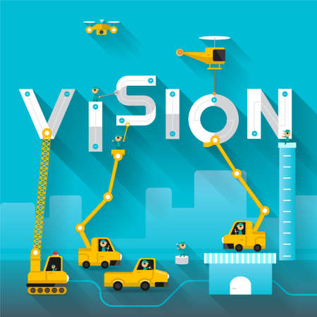 Illustration for Construction site crane building Vision text, Vector illustration template design - Royalty Free Image