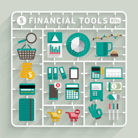 Illustration pour Vector flat design model kits for Financial tools. Element for use to success creative thinking - image libre de droit
