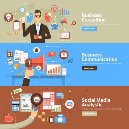 Ilustración de Flat design concepts for Business Consulting, Communication, Social Media Analystic. Concepts for web banners and promotional materials. - Imagen libre de derechos