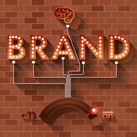 Illustration pour Text BRAND with ball light on background brick. - image libre de droit