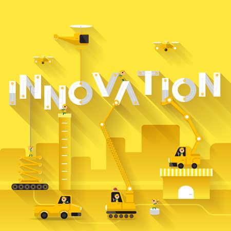 Illustration pour Construction site crane building Innovation text, Vector illustration template design - image libre de droit