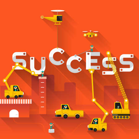 Illustration pour Construction site crane building Success text, Vector illustration template design - image libre de droit
