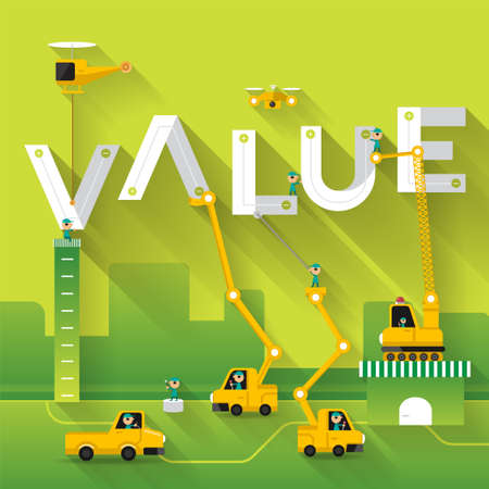 Foto de Construction site crane building Value text, Vector illustration template design - Imagen libre de derechos