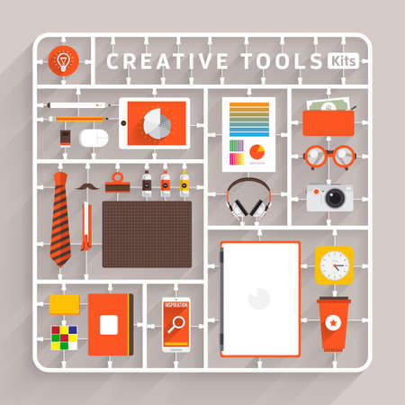 Illustration pour Vector flat design model kits for creative tools. Element for use to success creative thinking - image libre de droit