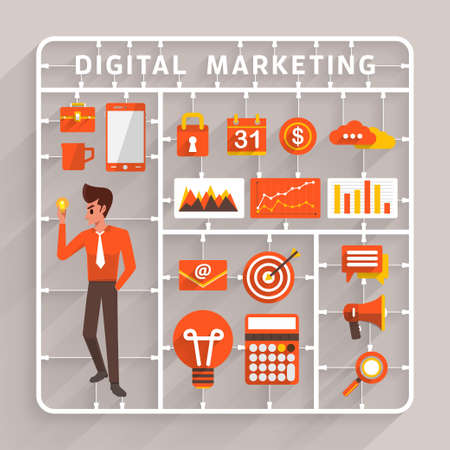 Illustration pour Vector flat design model kits for digital marketing.Element for use to success business and analysis information - image libre de droit
