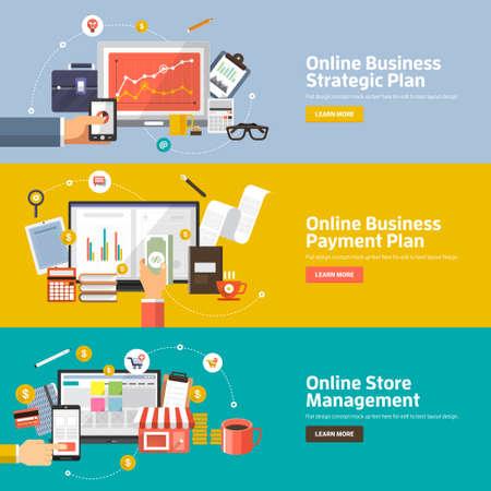 Illustration pour Flat design concepts for Online Business Strategic Plan, Payment Plan, Store Management  Concepts for web banners and promotional materials. - image libre de droit