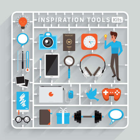 Illustration pour Vector flat design model kits for Inspiration Tools. Element for use to success creative thinking - image libre de droit