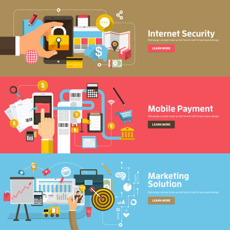 Illustration pour Flat design concepts for Internet Security, Mobile Payment, Marketing Solution. Concepts for web banners and promotional materials. - image libre de droit