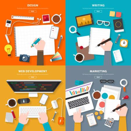 Ilustración de Flat design top view on desk concept Design, Writing, Web Development, Marketing. illustrate for flexible design banner. - Imagen libre de derechos