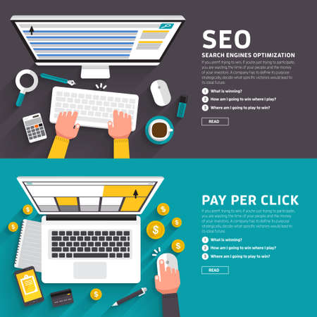 Ilustración de Flat design concept for seo article and ad online pay per click. illustrate for flexible design banner. - Imagen libre de derechos