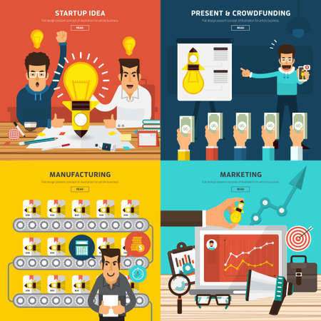 Illustration pour Flat design concept for start up new business process by idea, present, crowd funding, manufacturing and marketing.  - image libre de droit